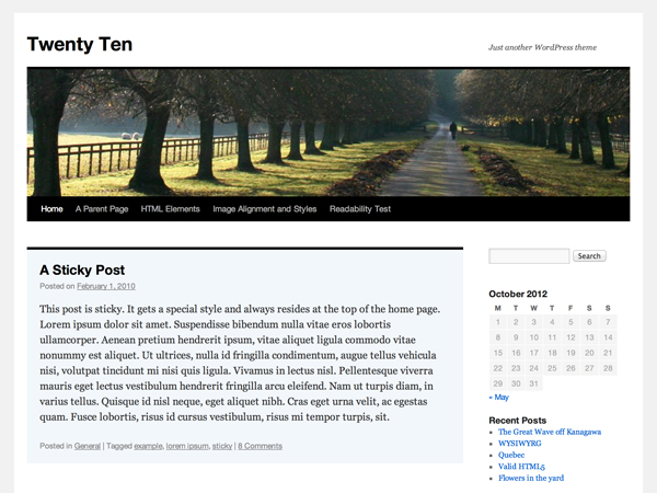 PackBlog thème Twenty Ten
